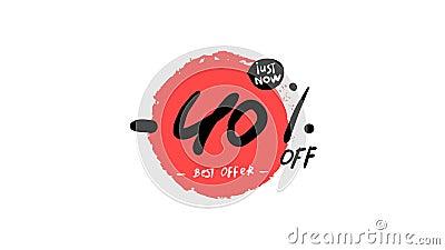 Αυτοκόλλητο ειδικής προσφοράς διαφημιστικού μπάνερ 40% Κίτρινη ετικέτα τιμής εκστρατείας πώλησης Ένδειξη κινούμενης εικόνας με έκ φιλμ μικρού μήκους