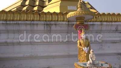 Βιρμανός βουδιστικός ναός της Myanmar σε Kushinagar απόθεμα βίντεο