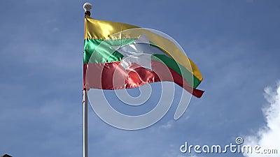 Βιρμανός κυματισμός σημαιών φιλμ μικρού μήκους