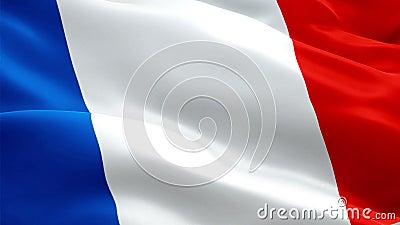 Γαλλικό πλήρες HD 1920X1080 σημαιών βίντεο μήκους σε πόδηα κινηματογραφήσεων σε πρώτο πλάνο 1080p που κυματίζει στον αέρα Εθνικός ελεύθερη απεικόνιση δικαιώματος