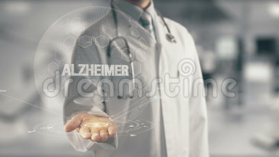 Γιατρός που κρατά το διαθέσιμο χέρι Alzheimer φιλμ μικρού μήκους