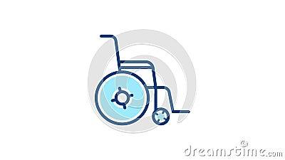 Γραμμικό εικονίδιο εικονογράμματος αναπηρικής πολυθρόνας ελεύθερη απεικόνιση δικαιώματος