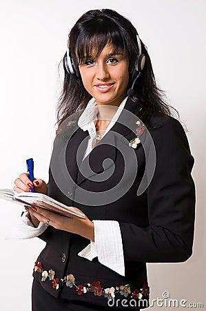 γυναίκα ακουστικών