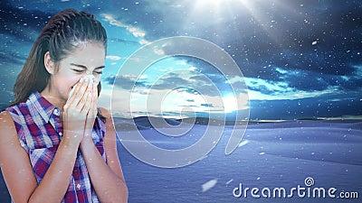 Γυναίκα που φτερνίζεται στο κλίμα χιονοπτώσεων απόθεμα βίντεο
