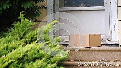 Δέμα παράδοσης στο μέρος του σπιτιού Το άτομο βάζει το κιβώτιο κοντά στην πόρτα πόρτα παράδοσης απόθεμα βίντεο