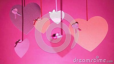Δέσμη ημέρας βαλεντίνων ` s της ταλάντευσης καρδιών απόθεμα βίντεο