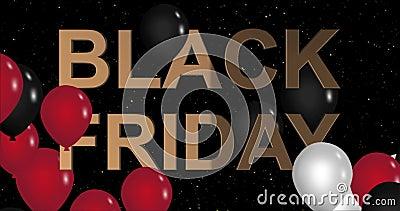 Διαφήμιση της Μαύρης Παρασκευής με χρυσό σύμβολο και μαύρα και κόκκινα μπαλόνια, κινούμενη εικόνα φόντου 4k ομαλή επανάληψη απόθεμα βίντεο
