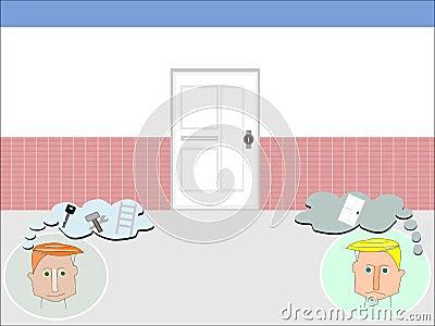 Δυναμικός και αντιδραστικός κλειστό λευκό πορτών διανυσματική απεικόνιση