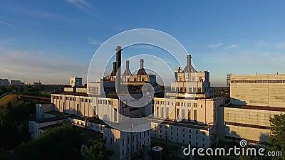 Εγκαταστάσεις θερμότητας και παραγωγής ενέργειας στη Ρωσία, εναέρια άποψη απόθεμα βίντεο