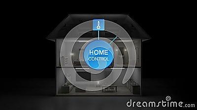 Ελαφριά on-off ενέργεια σπιτιών IoT - έλεγχος αποδοτικότητας αποταμίευσης, έξυπνες εγχώριες συσκευές, Διαδίκτυο των πληροφοριών έ διανυσματική απεικόνιση