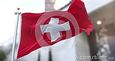 Ελβετική ή Ελβετική σημαία Αργή κίνηση απρόσκοπτος βρόχος φιλμ μικρού μήκους