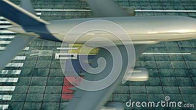 Εναέρια άποψη αεροπλάνου προσγείωσης που αποκαλύπτει σημαία του Ισημερινού στο αεροδρόμιο Εννοιολογική κατάσταση σχετικά με τα αε φιλμ μικρού μήκους