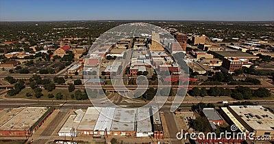 Εναέρια άποψη οριζόντων πόλεων του Αμπιλέν Τέξας στο κέντρο της πόλης απόθεμα βίντεο