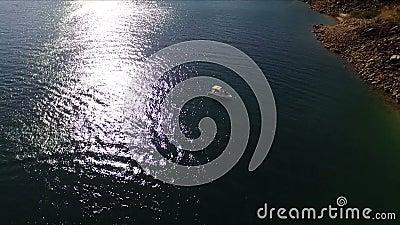 Εναέρια άποψη των βαρκών στην ακτή λιμνών φιλμ μικρού μήκους