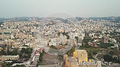 Εναέρια άποψη Byblos - Jbeil στο Λίβανο Ιστορική πόλη στη Μεσόγειο στη Μέση Ανατολή απόθεμα βίντεο