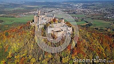 Εναέρια άποψη Hohenzollern Castle, Γερμανία απόθεμα βίντεο