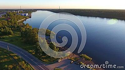 Εναέρια άποψη Neva riverbank απόθεμα βίντεο
