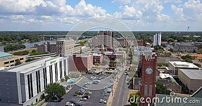 Εναέρια κοινότητα ΗΠΑ της Αλεξάνδρειας Λουιζιάνα Rapides άποψης στο κέντρο της πόλης φιλμ μικρού μήκους