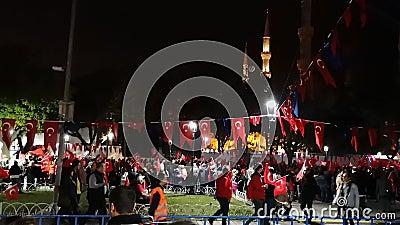 Εορτασμοί για την Ημέρα της Δημοκρατίας στην πλατεία Σουλταναχμέτ το βράδυ στην Κωνσταντινούπολη - 14 απόθεμα βίντεο