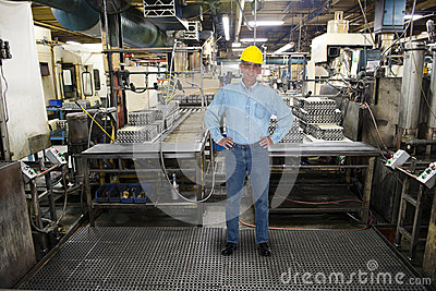 Smiling Man Work, Industrial Manufacturing Factory