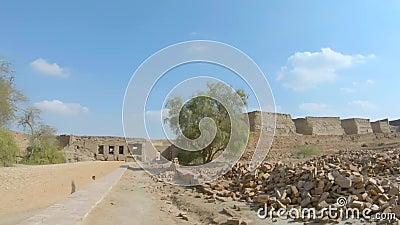 Εσωτερικός πυροβολισμός του οχυρού Derawar σε Bahawalpur Πακιστάν απόθεμα βίντεο