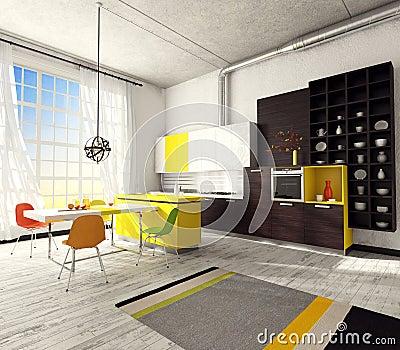 Εσωτερικό της σύγχρονης κουζίνας