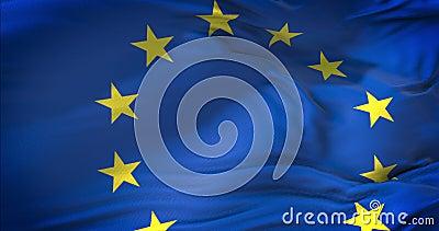 Ευρωπαϊκή σημαία της ΕΕ, ευρο- σημαία, σημαία της ευρωπαϊκής ένωσης eurozone που κυματίζει, κίτρινο αστέρι στο μπλε υπόβαθρο, κιν απόθεμα βίντεο
