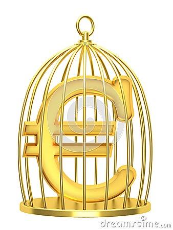Ευρώ σημαδιών σε ένα κλουβί