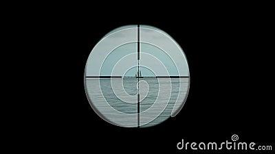 Εχθρικό σκάφος κάτω από το υποβρύχιο περισκόπιο φιλμ μικρού μήκους