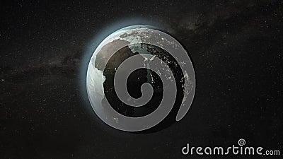 Ζουμ στην περιστρεφόμενη γη απόθεμα βίντεο