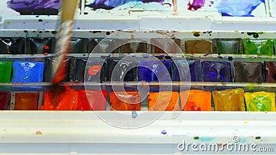Ζωγραφική με τις βούρτσες και το watercolor απόθεμα βίντεο
