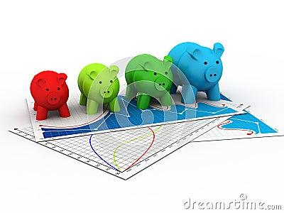 Ζωηρόχρωμη τράπεζα Piggy σε μια σειρά