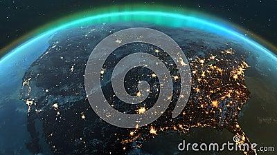 Ζώνη της Αμερικής πλανήτη Γη με τη νύχτα και την ανατολή