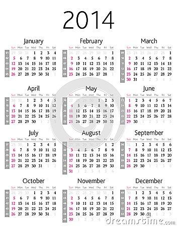 ημερολόγιο του 2014