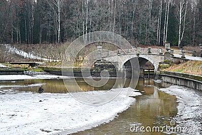 The bridge through the river the Slav in Pavlovsk park