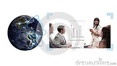 Η γη που γυρίζει ως βίντεο των επιχειρηματιών εμφανίζεται εκτός από το με την ευγένεια γήινης εικόνας της NASA org απόθεμα βίντεο