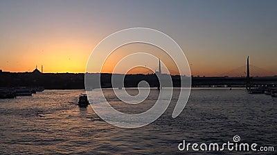 Ηλιοβασίλεμα στη Ιστανμπούλ Τουρκία απόθεμα βίντεο