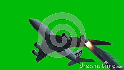Η μηχανή των αεροσκαφών επίασε την πυρκαγιά και τα εγκαύματα με την απελευθέρωση του μαύρου καπνού μπροστά από μια πράσινη οθόνη  απόθεμα βίντεο