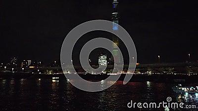 Η ρόδα Skyline και Ferris στο Kobe Port Tower φωτίζεται τη νύχτα απόθεμα βίντεο