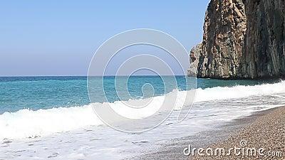 Θαλάσσια κύματα στην παραλία Αντάλια, Μεσόγειο, Τουρκία φιλμ μικρού μήκους