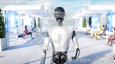 Θηλυκό περπάτημα ρομπότ Sci σταθμός FI Φουτουριστική μεταφορά μονοτρόχιων σιδηροδρόμων Έννοια του μέλλοντος Άνθρωποι και ρομπότ Ρ