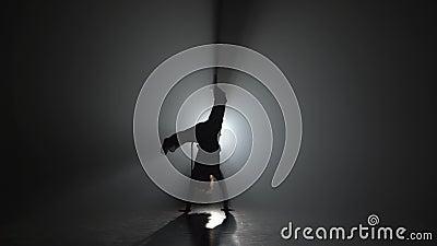 Θηλυκό capoeira άσκησης μπουκλών στο σκοτάδι ενάντια στο ελαφρύ επίκεντρο στο στούντιο φιλμ μικρού μήκους