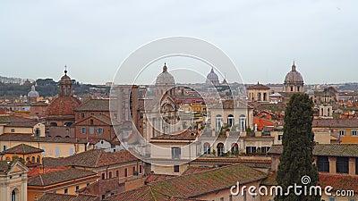 Θόλοι και στέγες του ιστορικού κέντρου της Ρώμης απόθεμα βίντεο
