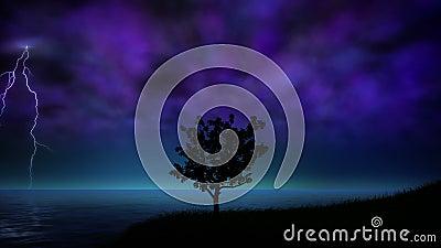 Θύελλα νύχτας με το βρόχο αστραπής ελεύθερη απεικόνιση δικαιώματος