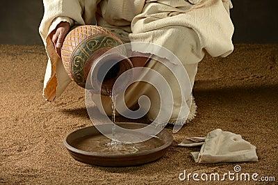 Ιησούς με μια κανάτα του νερού