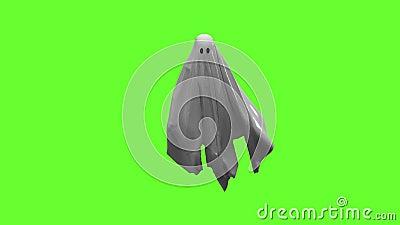 Ιπτάμενο λευκό φάντασμα σε πράσινη οθόνη φιλμ μικρού μήκους