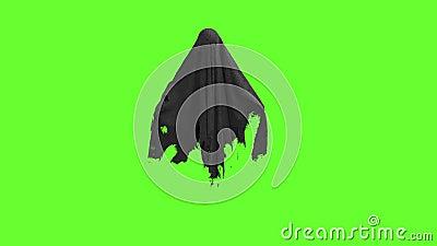 Ιπτάμενο μαύρο φάντασμα σε πράσινη οθόνη απόθεμα βίντεο