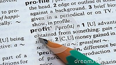 Κέρδος, καθορισμός στο αγγλικό λεξιλόγιο, τρέχοντας επιτυχής επιχείρηση, οφέλη απόθεμα βίντεο