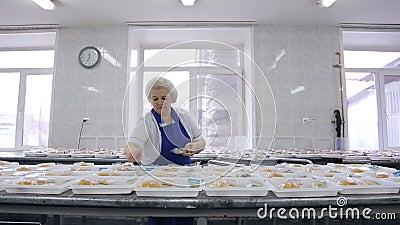 Καλαθάκια με φαγητό συσκευασίας ένας εργαζόμενος μιας επιχείρησης τομέα εστιάσεως
