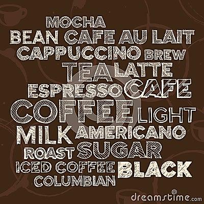 κείμενο στοιχείων καφέ